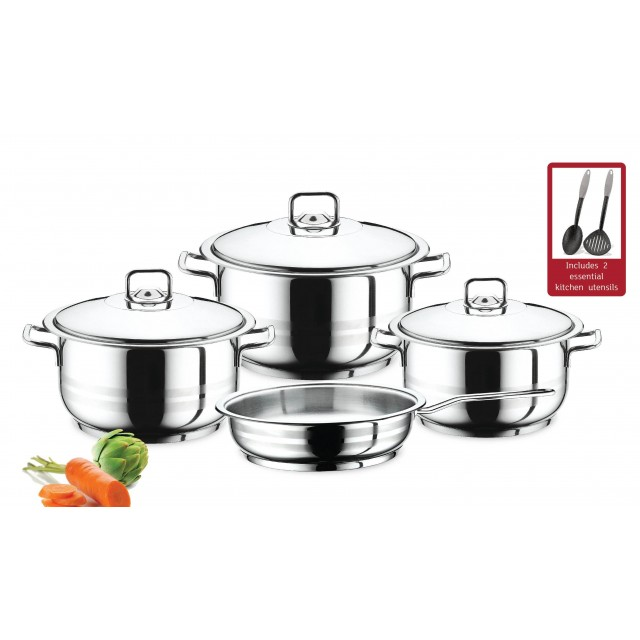 Prestige 9pc Stainless Steel Cooking Set Cookware Kitchen