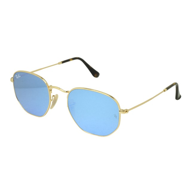 51f7107eee6e3 Ray Ban Hexagonal Flat Lens Light Blue Flash Unisex Sunglasses  RB3548N-001 9O